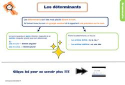 Leçon, trace écrite sur les déterminants – Ce1