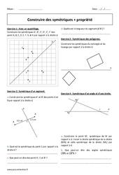 Construire des symétriques - Propriété - 6ème - Exercices à imprimer