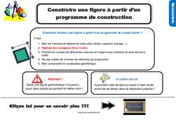 Leçon, trace écrite sur construire une figure à partir d'un programme de construction au Cm2