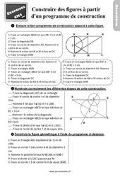 Exercices, révisions sur construire une figure à partir d'un programme de construction au Cm2 avec les corrections