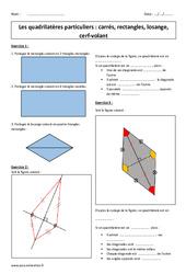 Carrés, rectangles, losange, cerf-volant – 6ème – Exercices – Quadrilatères particuliers