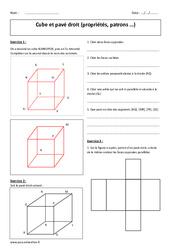 Cube et pavé droit – 6ème – Exercices – Patrons – Propriétés