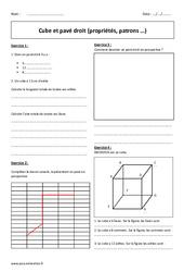 Pavé droit – Cube – 6ème – Exercices – Propriétés – Patrons