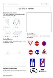 Axes de symétrie - 6ème - Exercices corrigés