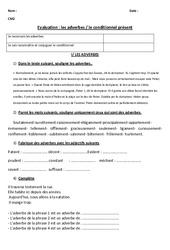 Evaluation de français cm2- Grammaire et conjugaison: Les adverbes - Le conditionnel présent