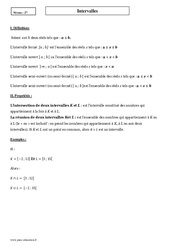 Intervalles – Seconde – Cours