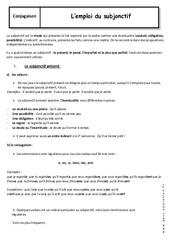 Emploi du subjonctif - 3ème - Cours