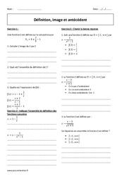 Antécédent – 2nde – Exercices corrigés sur les fonctions – Image et définition