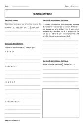Fonction inverse – Seconde – Exercices à imprimer