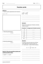 Fonction carré – 2nde – Exercices corrigés