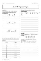 Radian - Cercle trigonométrique - 2nde - Exercices à imprimer