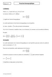 Fonction homographique – Seconde – Cours
