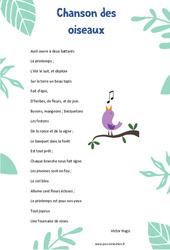 Chanson des oiseaux de Victor Hugo – Poésie animaux – cycle 3 : ce2 cm1 cm2
