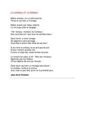 Le corbeau et le renard de Jean de la Fontaine – Poésie animaux – cycle 3 : ce2 cm1 cm2