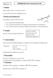 Multiplication d'un vecteur par un réel – Seconde – Cours
