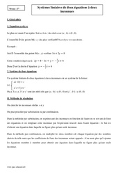 Systèmes linéaires de deux équations à deux inconnues – 2nde – Cours