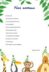 Nos animaux de Virginie Fournier – Poésie animaux – cycle 3 : ce2 cm1 cm2