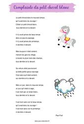 Complainte du petit cheval blanc de Paul Fort – Poésie animaux – cycle 3 : ce2 cm1 cm2