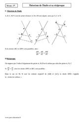 Théorème de Thalès et sa réciproque – 2nde – Cours