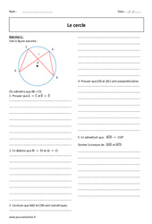 Cercle – 2nde – Exercices corrigés à imprimer