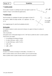 Symétrie centrale et axiale – Seconde – Cours