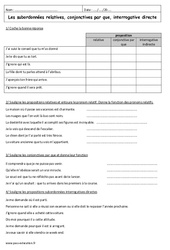 Propositions subordonnées relatives, conjonctives, interrogatives - 3ème - Exercices