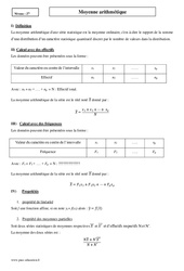 Moyenne arithmétique – Seconde – Cours