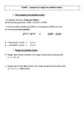 Comparer et ranger les nombres entiers –  Leçon – Cm1 – Cm2 – Numération – Mathématiques – Cycle 3