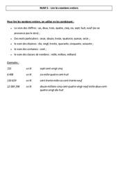 Lire les nombres entiers – Leçon – Cm1-Cm2 – Numération – mathématiques – Cycle 3