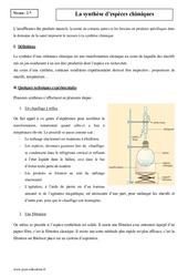 Synthèse d'espèces chimiques – Seconde – Cours