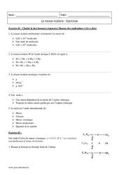 Atomique, moléculaire, d'un ion – 2nde – Exercices sur la masse molaire