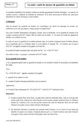 Mole – Unité de mesure de quantités en chimie – Seconde – Cours