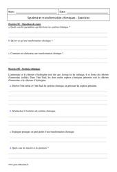 Transformations chimiques et système – 2nde – Exercices corrigés