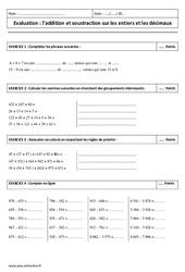 Addition et soustraction des décimaux et entiers- 6ème - Contrôle
