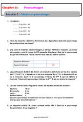 Calculer un pourcentage - 6ème - Révisions - Exercices avec correction
