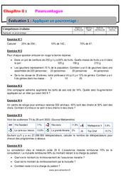 Appliquer un pourcentage – 6ème – Evaluation, bilan, contrôle avec la correction