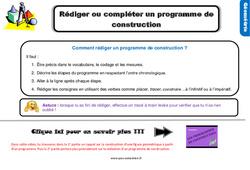 Leçon, trace écrite sur rédiger ou compléter un programme de construction au Cm1