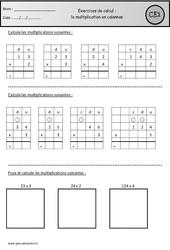 Multiplication en colonnes – Ce1 – Révisions à imprimer
