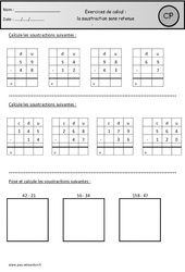 Soustraction en colonnes sans retenue – Cp – Révisions
