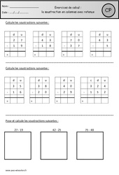 Soustraction en colonnes avec retenue – Cp – Révisions à imprimer