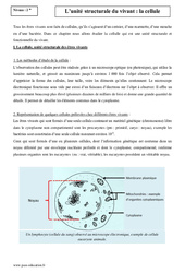Unité structurale du vivant -  La céllule - Seconde - Cours