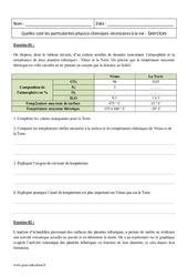 Conditions de la vie – Particularités physico-chimiques – 2nde – Exercices