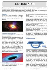 Le trou noir – Cm1 – Cm2 – Lecture documentaire