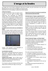 L'orage, la foudre, la grêle - Cm1 - Cm2 - Lecture compréhension
