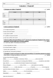 Impératif – Présent – 6ème – Evaluation à imprimer