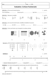 Ecriture Fractionnaire - 6ème - Evaluation à imprimer
