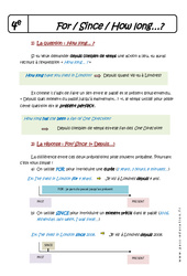 For – Since – How long – 4ème – Cours