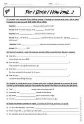 How long - For - Since - 4ème - Exercices à imprimer