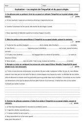 Imparfait – Passé simple – 6ème – Contrôle avec le corrigé