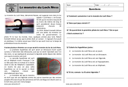 Le monstre du Loch ness - Ce1 - Lecture compréhension